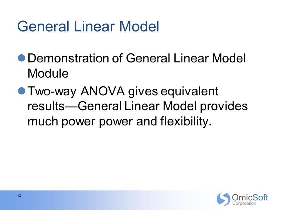 General Linear Model Demonstration of General Linear Model Module