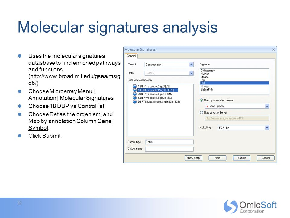Molecular signatures analysis