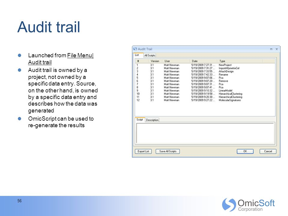 Audit trail Launched from File Menu| Audit trail
