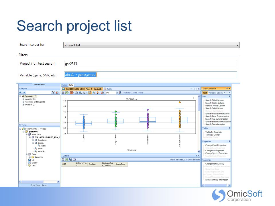 Search project list