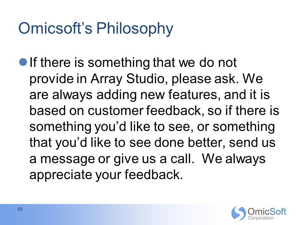 Omicsoft's Philosophy