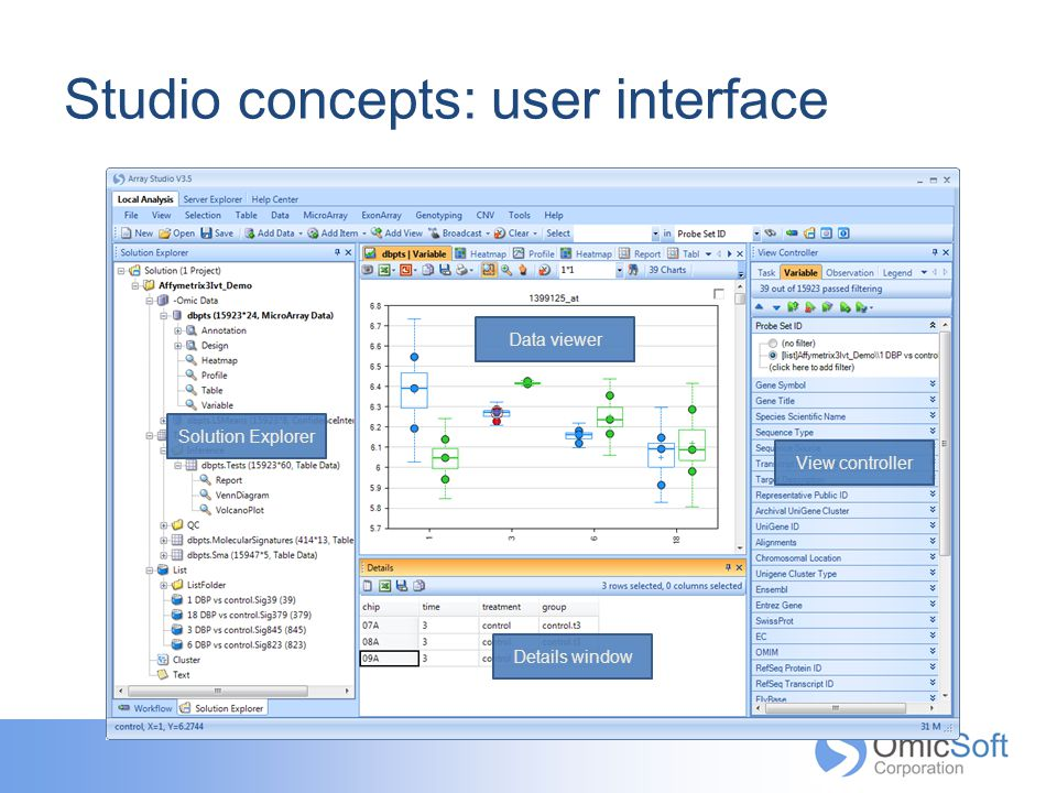 Studio concepts: user interface