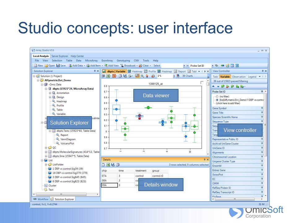 Studio concepts: user interface