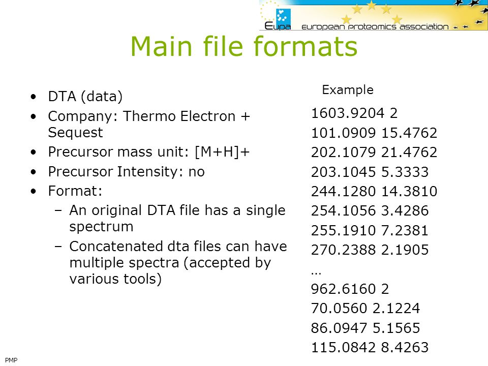 Main file formats DTA (data) Company: Thermo Electron + Sequest