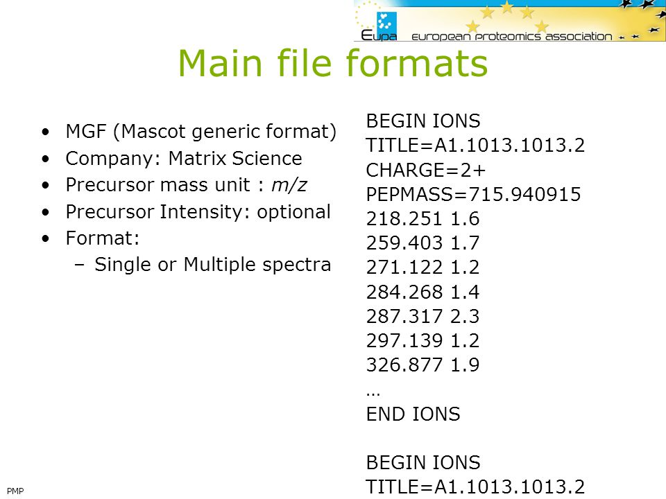 Main file formats BEGIN IONS MGF (Mascot generic format)