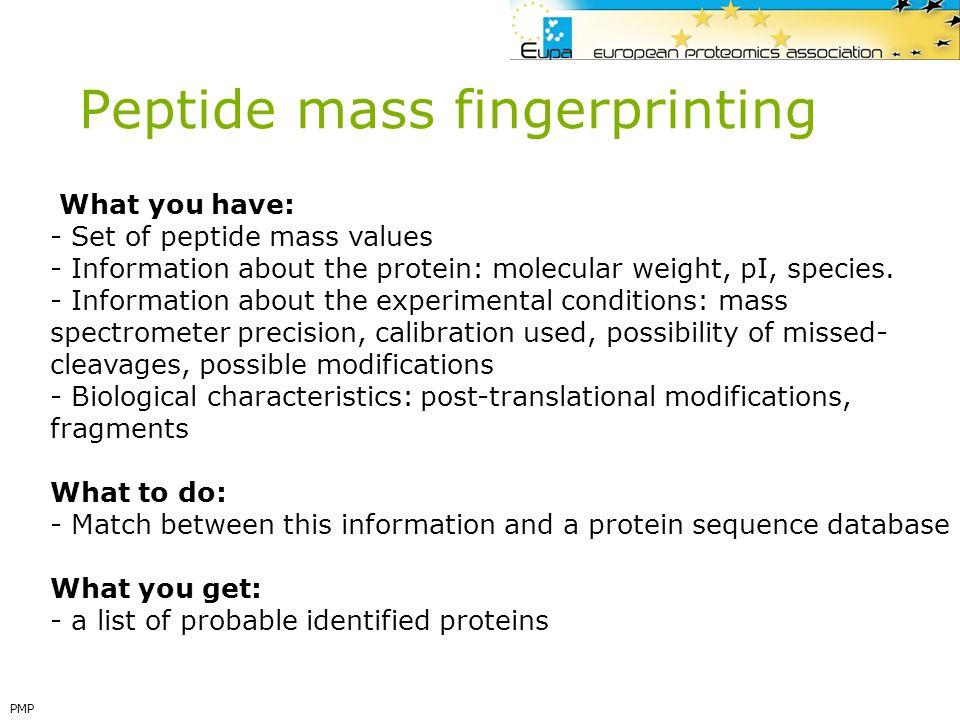 Peptide mass fingerprinting