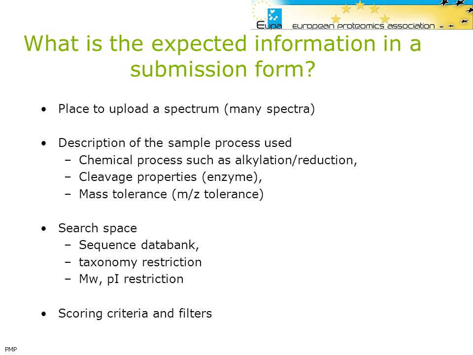 What is the expected information in a submission form