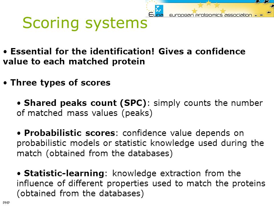 Scoring systems Essential for the identification! Gives a confidence value to each matched protein.