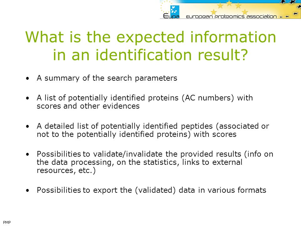 What is the expected information in an identification result