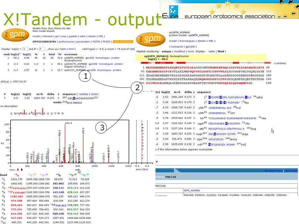 X!Tandem - output 1 2 3