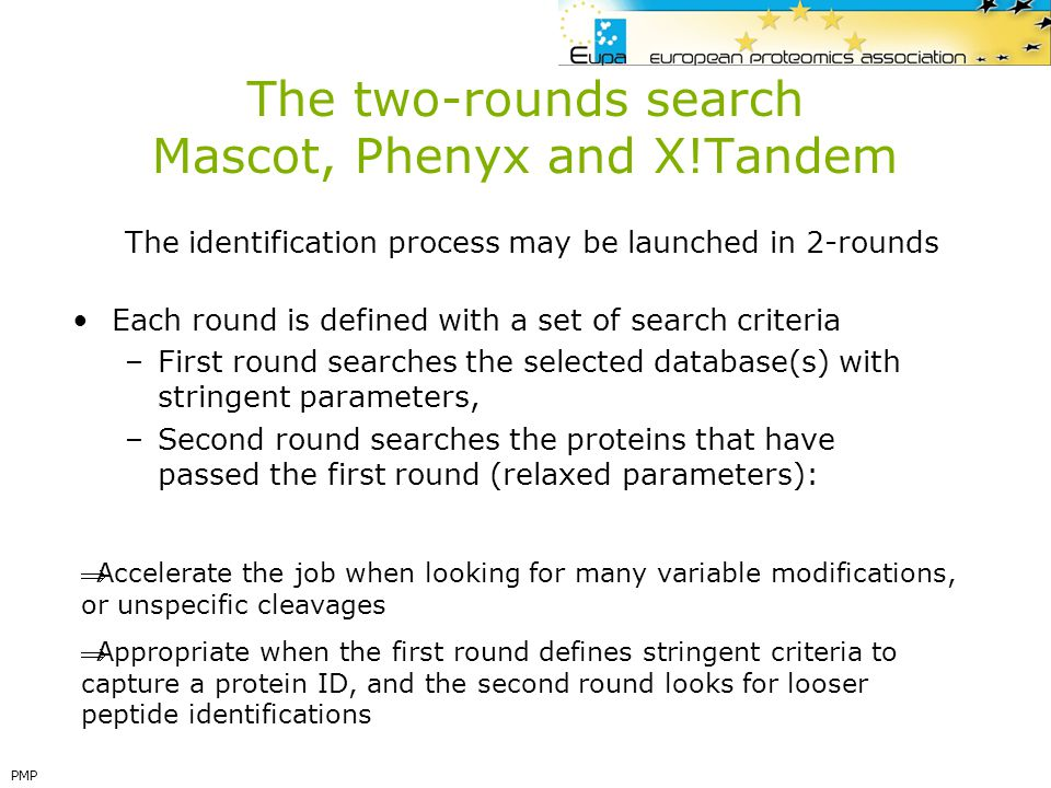 The two-rounds search Mascot, Phenyx and X!Tandem