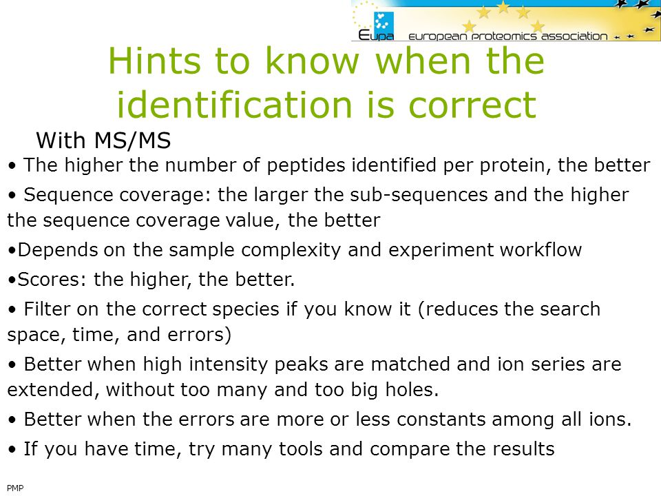 Hints to know when the identification is correct