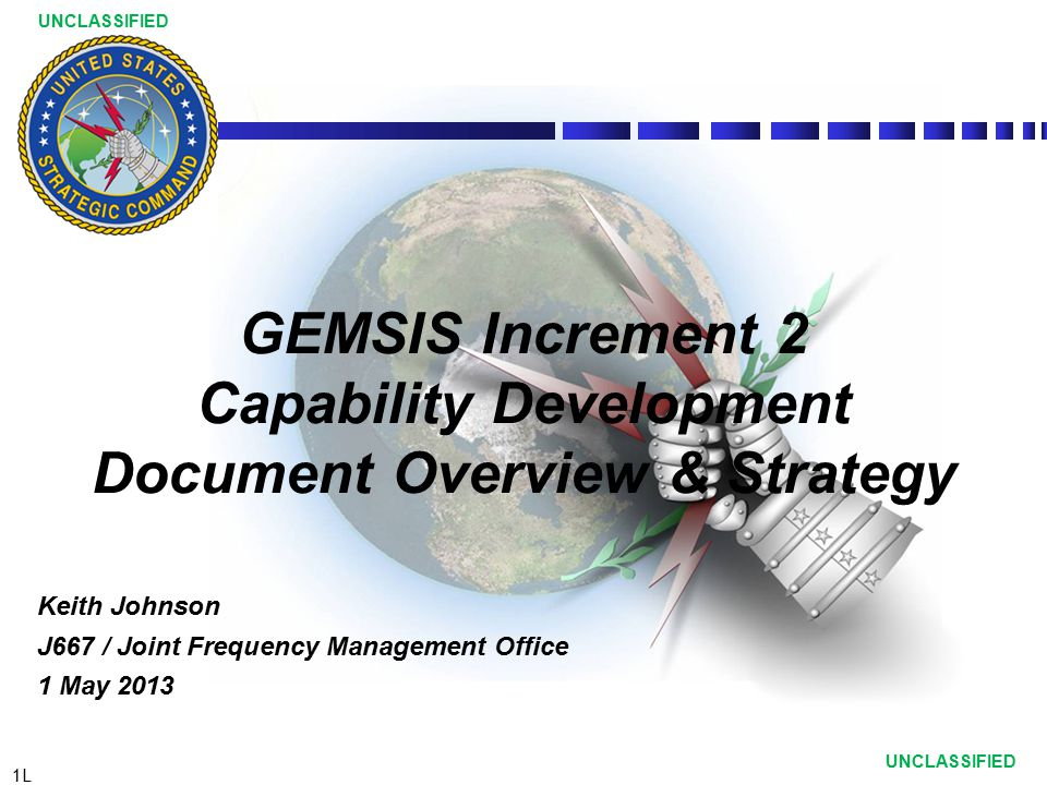 GEMSIS Increment 2 Capability Development Document Overview & Strategy