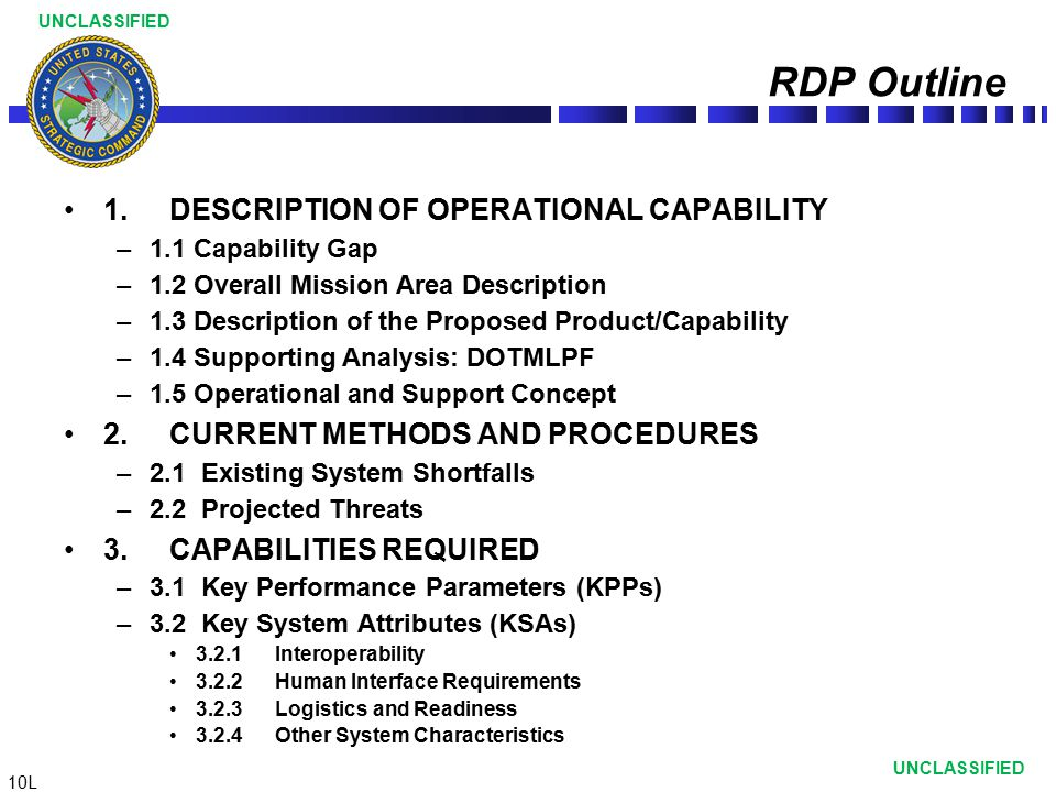 RDP Outline 1. DESCRIPTION OF OPERATIONAL CAPABILITY