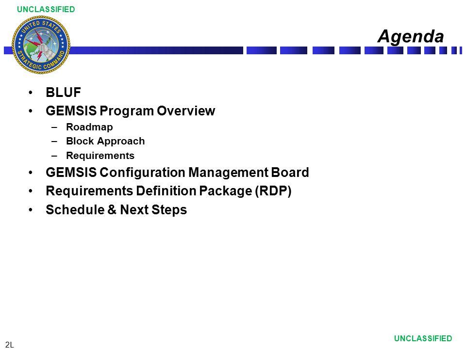 Agenda BLUF GEMSIS Program Overview