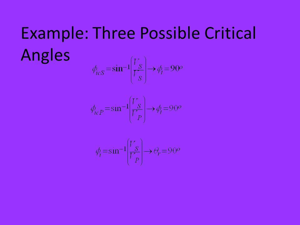 Example: Three Possible Critical Angles