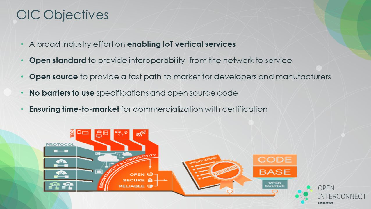 OIC Objectives A broad industry effort on enabling IoT vertical services. Open standard to provide interoperability from the network to service.