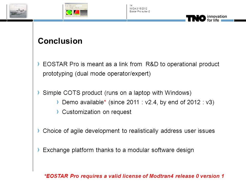 WIDA 3/15/2012 Eostar Pro suite v2. Conclusion.