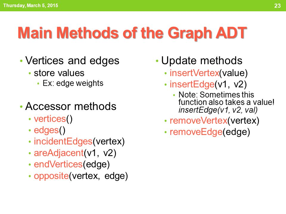 Main Methods of the Graph ADT