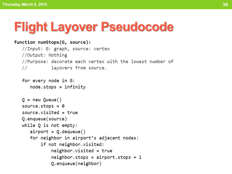Flight Layover Pseudocode