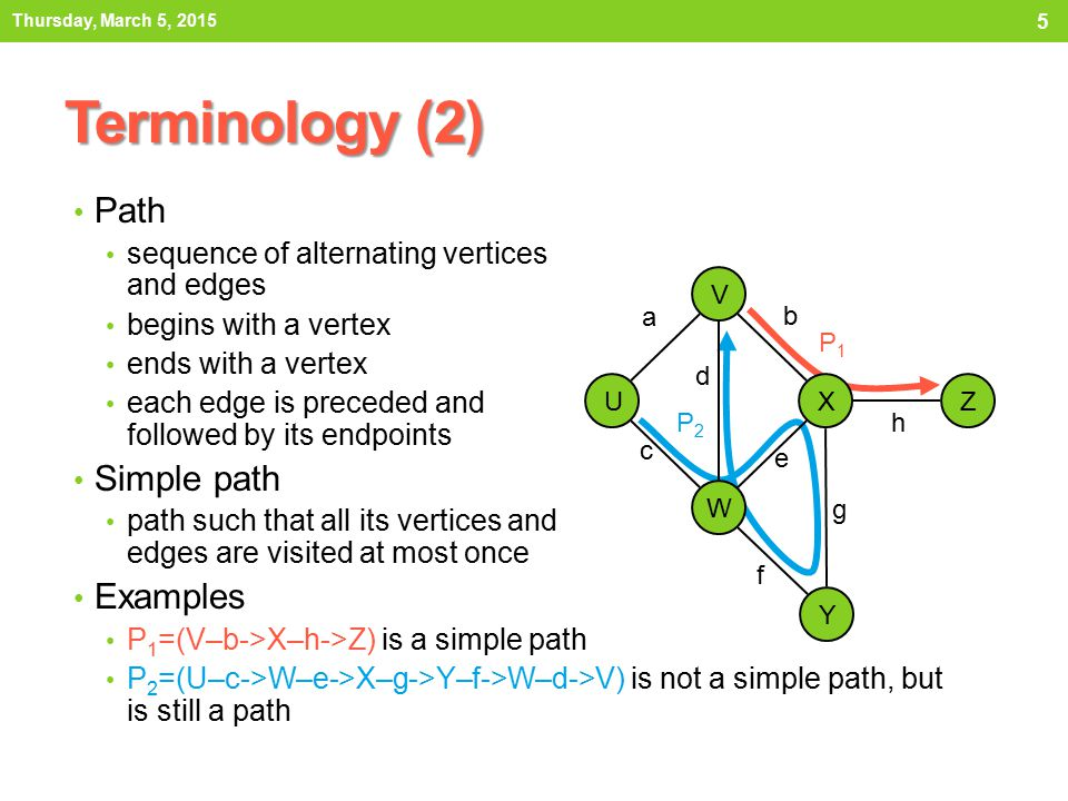 Terminology (2) Path Simple path Examples