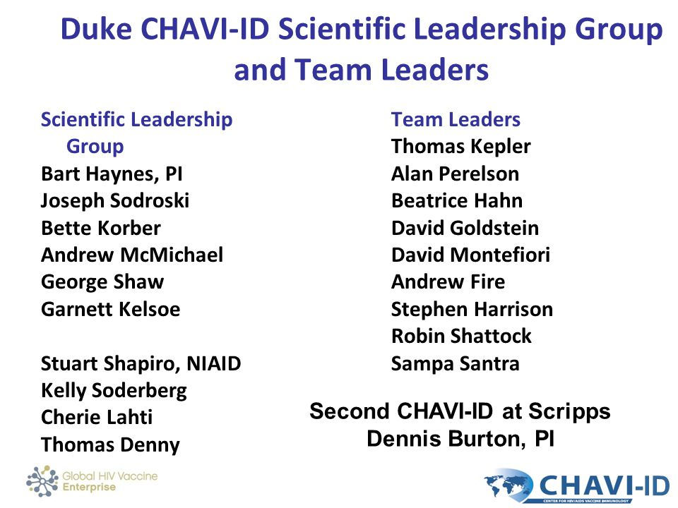 Duke CHAVI-ID Scientific Leadership Group and Team Leaders