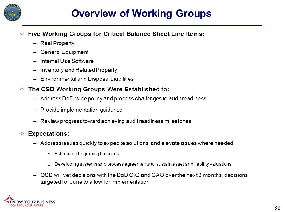 Overview of Working Groups