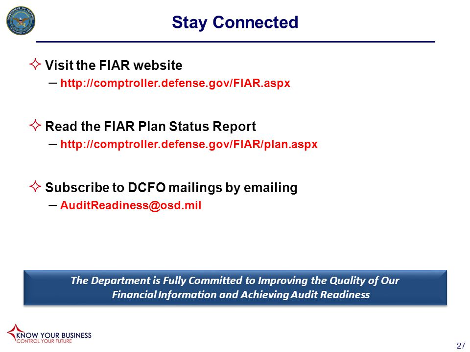Stay Connected Visit the FIAR website Read the FIAR Plan Status Report