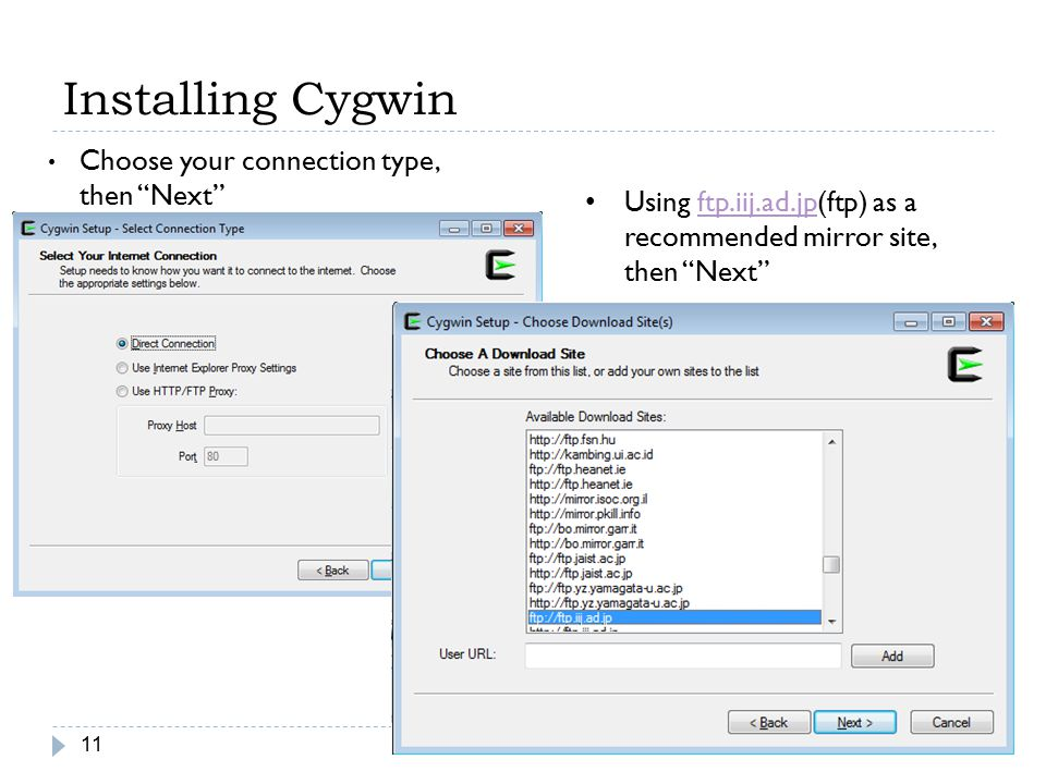 Installing Cygwin Choose your connection type, then Next