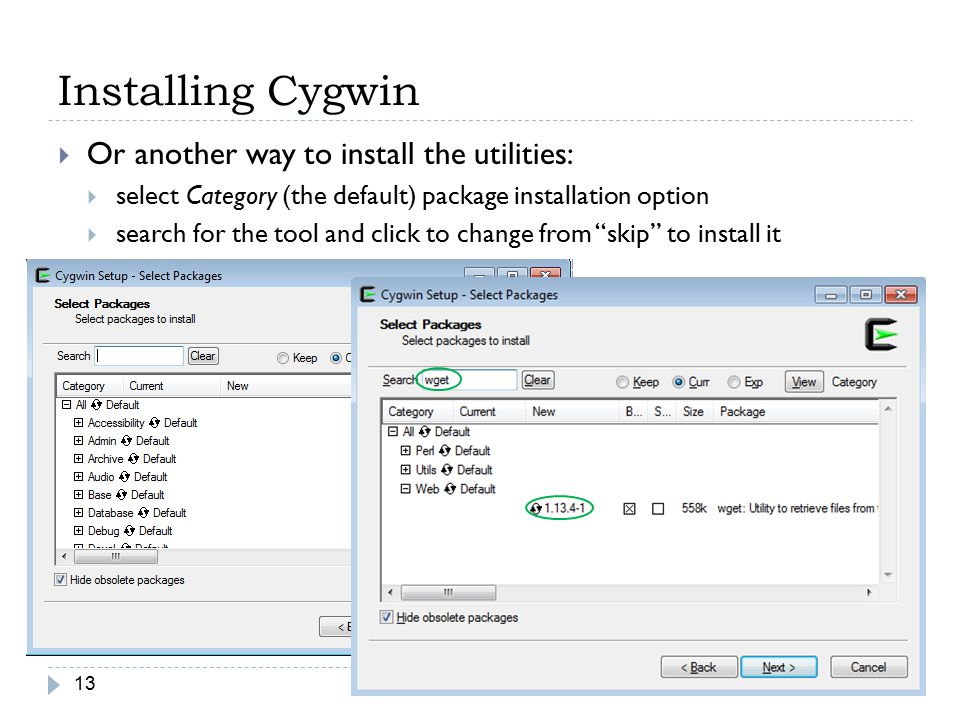 Installing Cygwin Or another way to install the utilities: