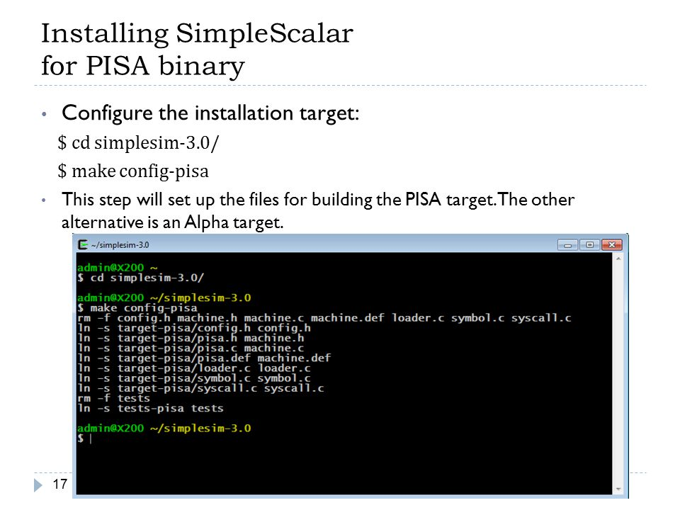 Installing SimpleScalar for PISA binary