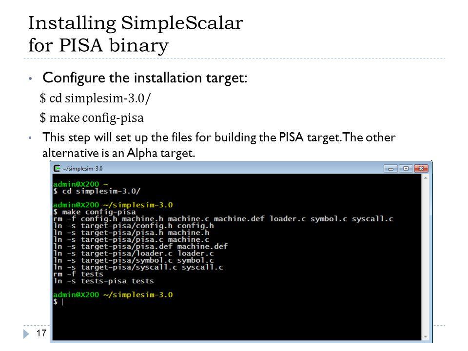 Installing SimpleScalar for PISA binary