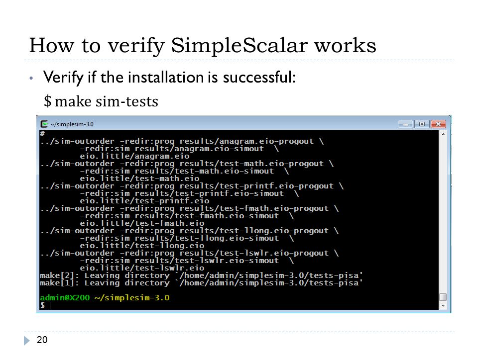 How to verify SimpleScalar works