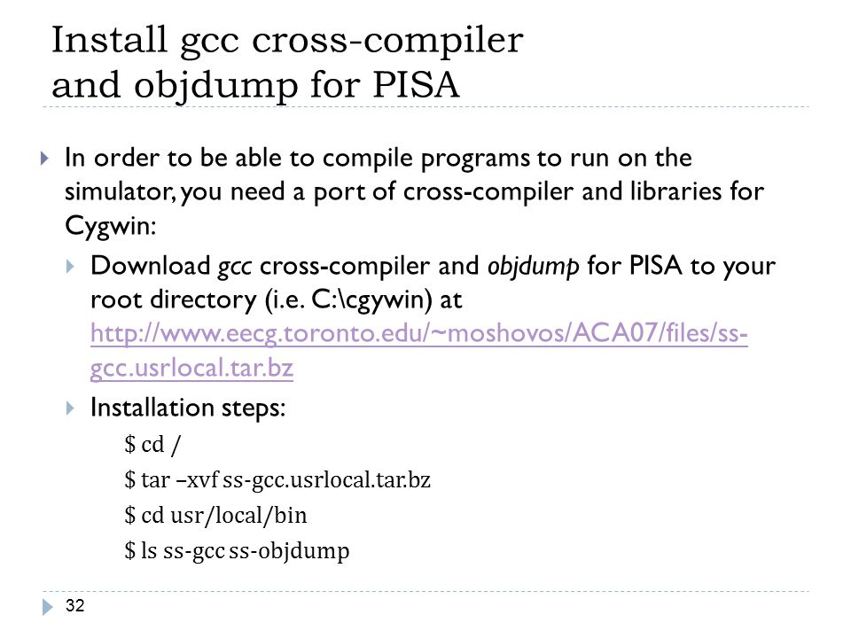 Install gcc cross-compiler and objdump for PISA