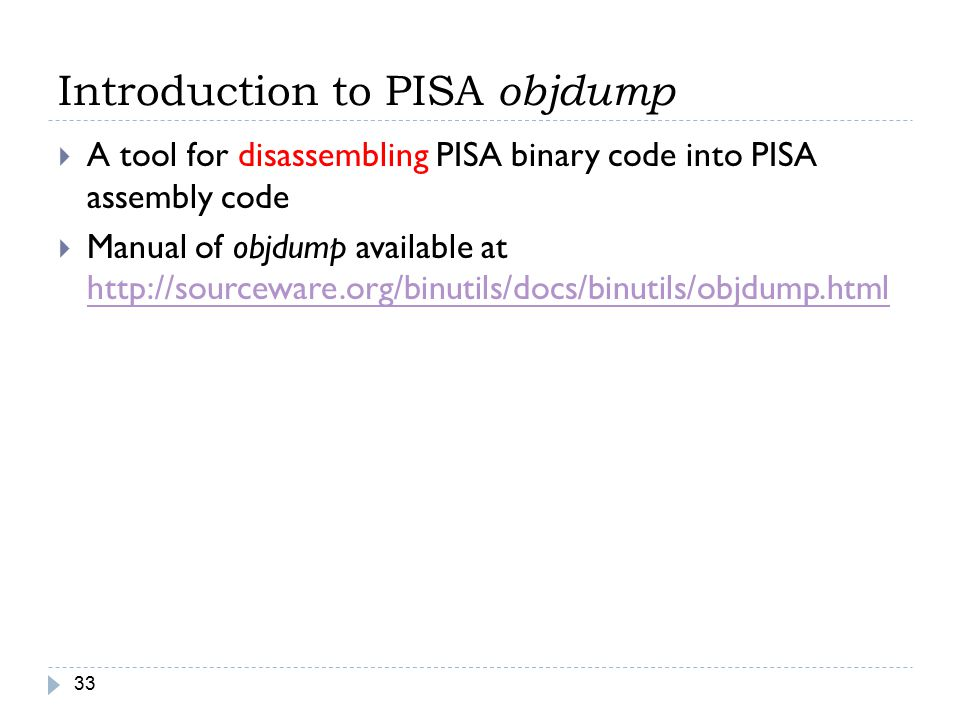 Introduction to PISA objdump