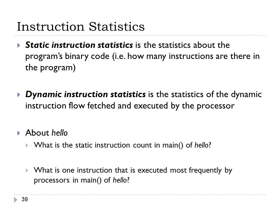 Instruction Statistics