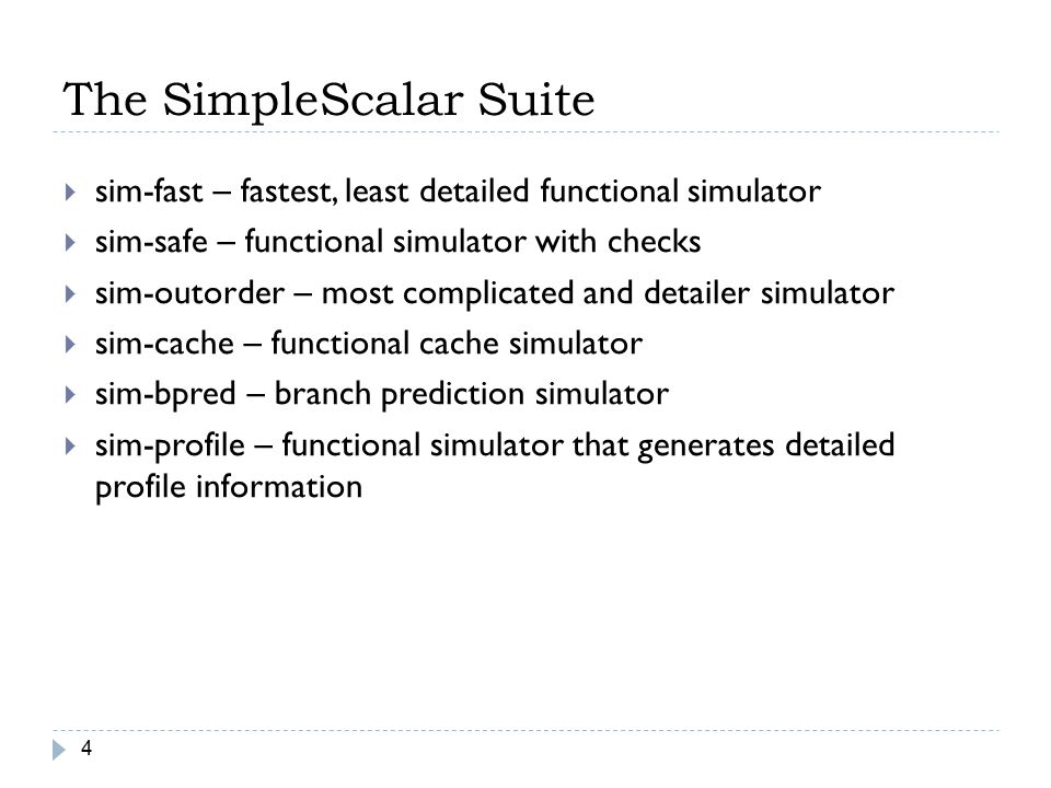 The SimpleScalar Suite