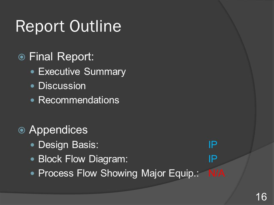 Report Outline Final Report: Appendices Executive Summary Discussion