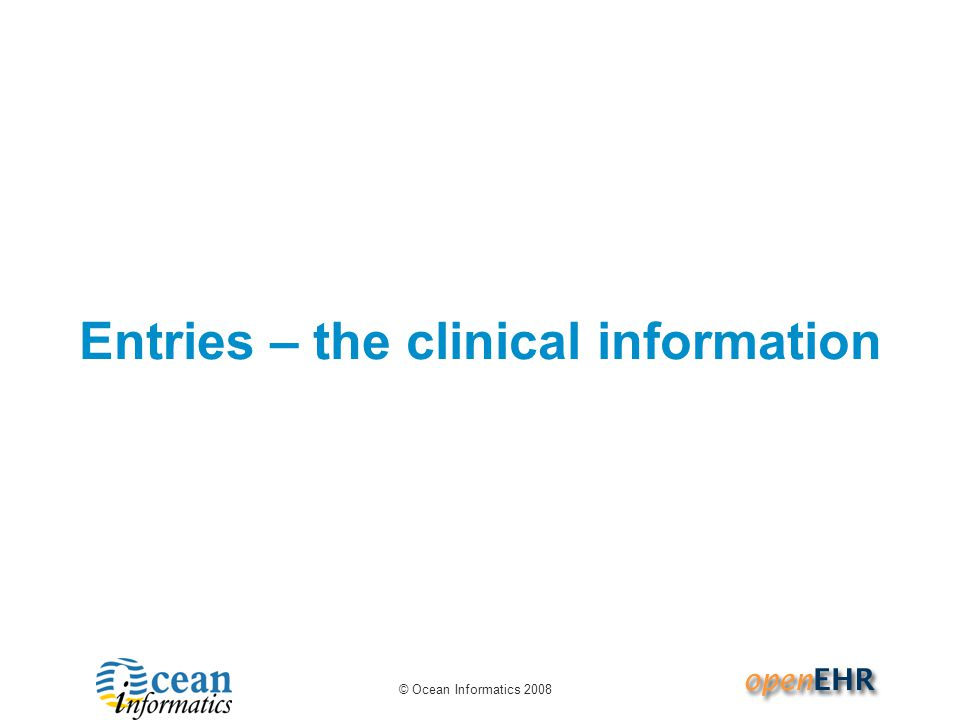 Entries – the clinical information