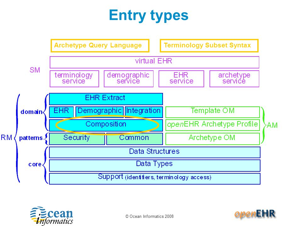 Entry types Archetype Query Language Terminology Subset Syntax