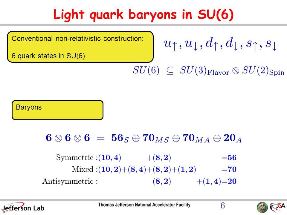 Light quark baryons in SU(6)