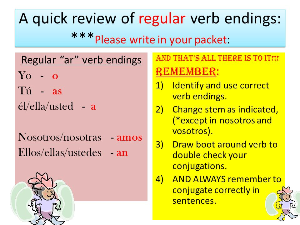 A quick review of regular verb endings: ***Please write in your packet: