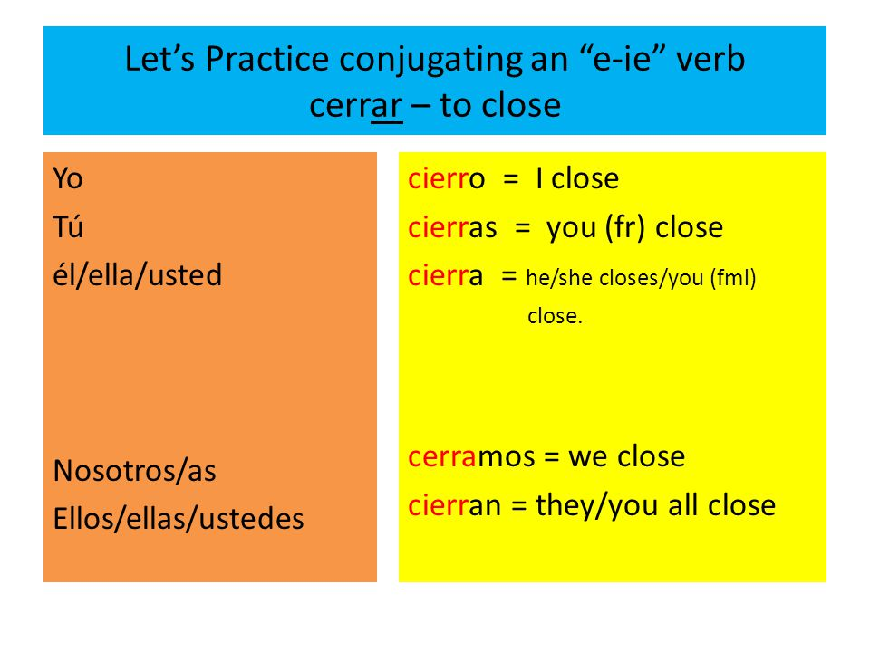 Let's Practice conjugating an e-ie verb cerrar – to close