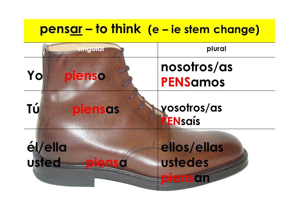 pensar – to think (e – ie stem change)