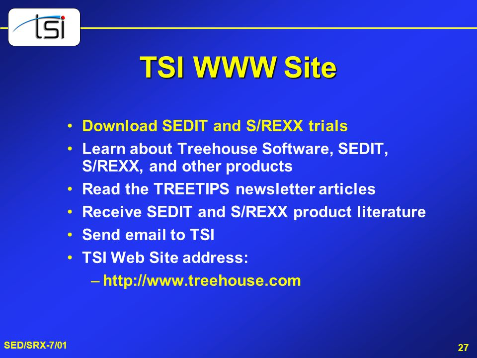 TSI WWW Site Download SEDIT and S/REXX trials