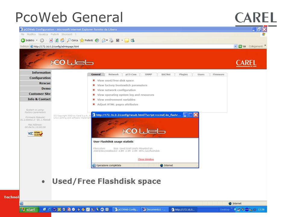 PcoWeb General Used/Free Flashdisk space