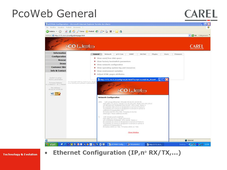 PcoWeb General Ethernet Configuration (IP,n° RX/TX,...)