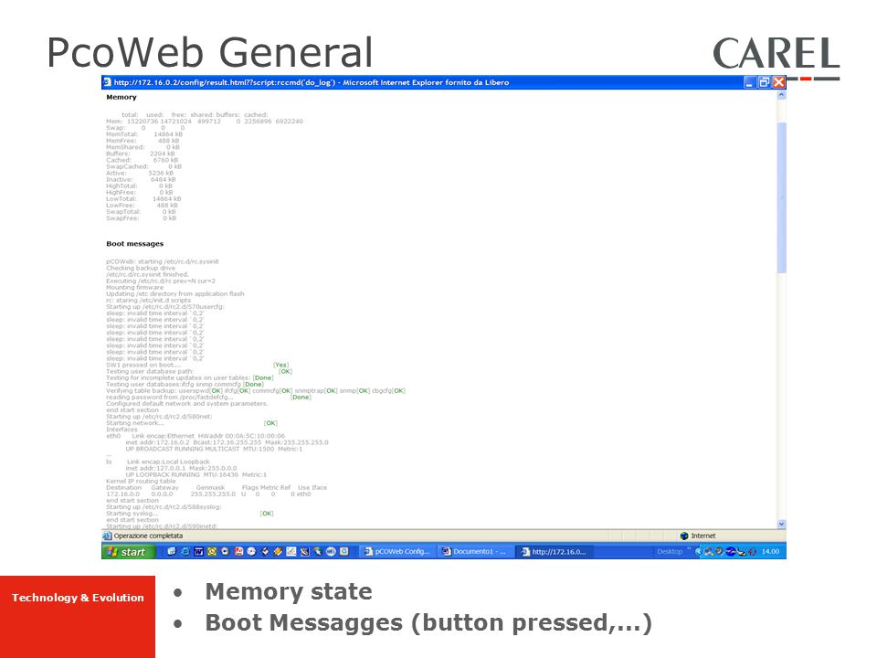 PcoWeb General Memory state Boot Messagges (button pressed,...)