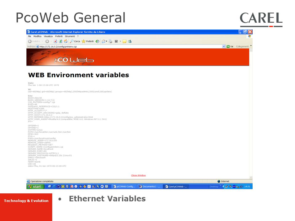 PcoWeb General Ethernet Variables