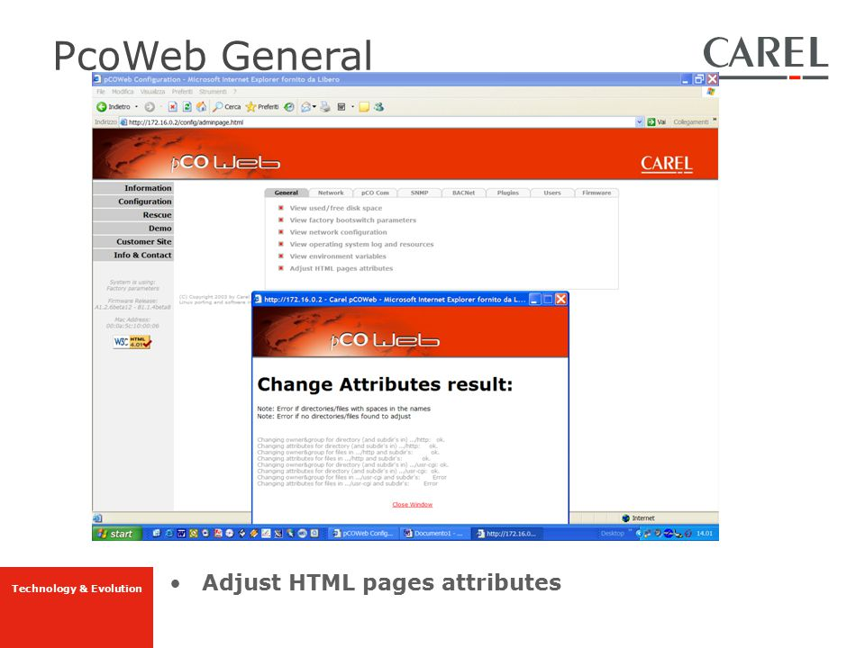 PcoWeb General Adjust HTML pages attributes
